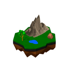 floating island isolated on white background 3d vector image