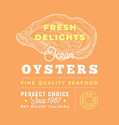 fresh seafood delights premium quality label vector image