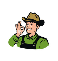 funny farmer in hat farm product logo vector image