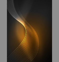 glowing wave created with particles on dark color vector image