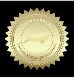 Gold star label North Carolina vector