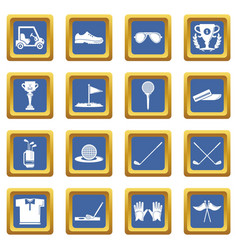 golf icons set blue square vector image