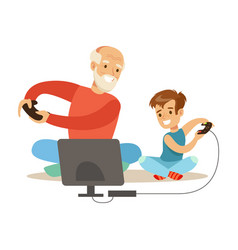 Grandfather and boy playing video games part of vector
