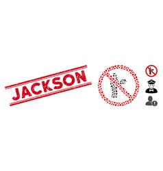 Grunge jackson line stamp with mosaic no waiter vector