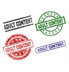 Grunge textured adult content stamp seals vector