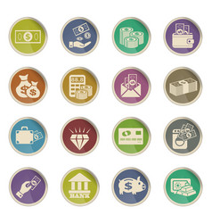 Hand and money icon set vector