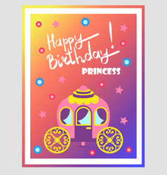 happy birthday princess cute multicolored poster vector image
