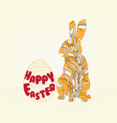 happy easter with doodle floral bunny picture vector image