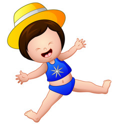 happy little girl in blue swimsuit jump vector image