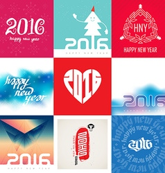 Happy new year 2016 Set of Creative greeting card vector