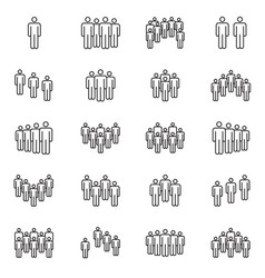 Human crowd symbols people group line vector