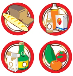 Icons with foods and drinks vector image