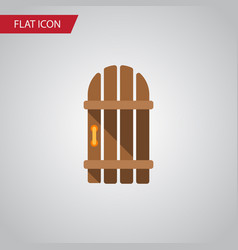 Isolated gate flat icon wooden fence vector
