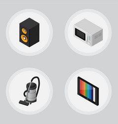 isometric electronics set of television microwave vector image