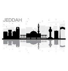jeddah city skyline black and white silhouette vector image
