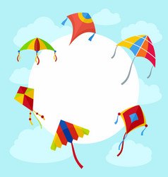 Kites in sky background flat style vector