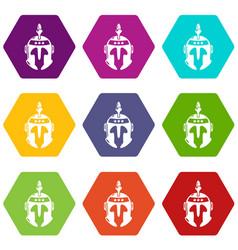 Knight helmet icons set 9 vector