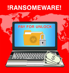 Laptop infected ransomware virus pay for unlock vector