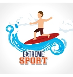 man surfin on wave extreme sport vector image