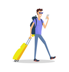 man with luggage makes selfie summer vacation vector image vector image