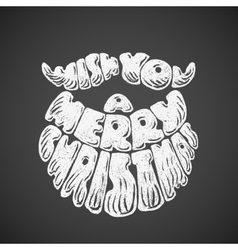 Merry Christmas Chalk lettering with Santa Claus vector