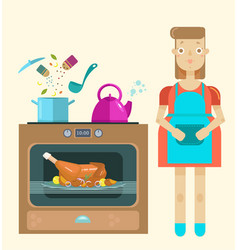 Mistress in kitchen cooking roast turkey vector