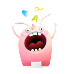 Monster mascot shouting screaming mouth wide open vector