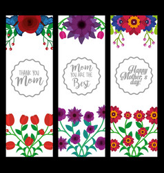 mothers day vertical banners decoration flowers vector image