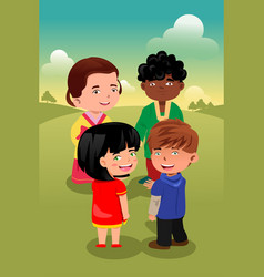 Multi-ethnic kids playing together vector