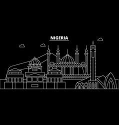 nigeria silhouette skyline city nigerian vector image
