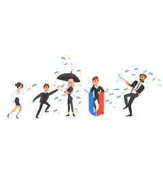 People and flying dollars money earning concept vector