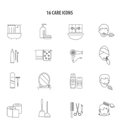 Personal care products icons set line vector