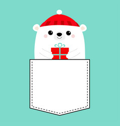 polar white bear cub face holding gift box red vector image