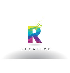 R colorful letter origami triangles design vector