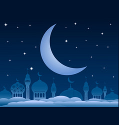 ramadan kareem background with mosque and moon on vector image