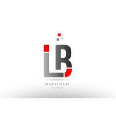 Red grey alphabet letter lb l b logo combination vector