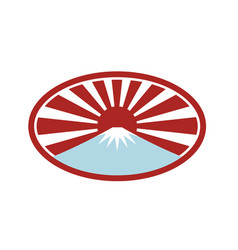 Rising sun with snow capped mountain icon vector