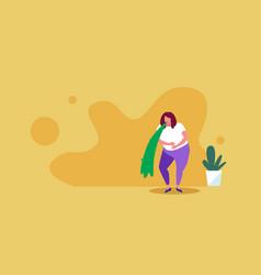Sad woman vomiting nausea stomach ache food or vector