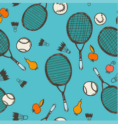 Seamless pattern tennis and badminton vector
