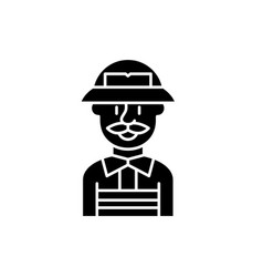 service engineer black icon sign on vector image