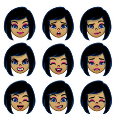 set cartoon girl head with various face vector image