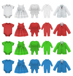 set of baby bodysuit dress and jacket blank vector image