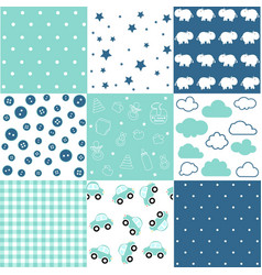 set of baby boy seamless patterns vector image