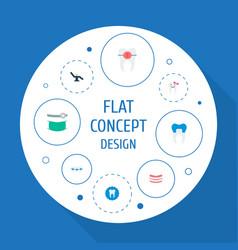 set of dental icons flat style symbols with braces vector image