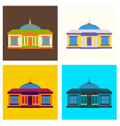 Set of silhouette of the government building on vector