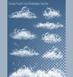 set transparent soap bubbles and foam vector image