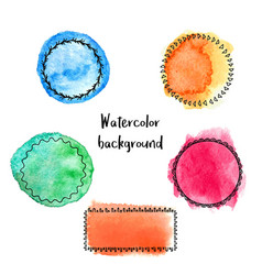 set watercolor stains with hand-drawn doodle vector image
