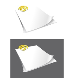 Sheets of paper and gold binder vector