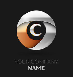 silver letter c logo symbol in the circle shape vector image