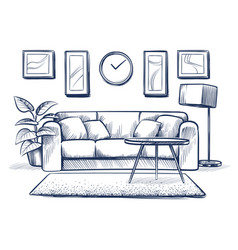 Sketch interior doodle living room with sofa vector